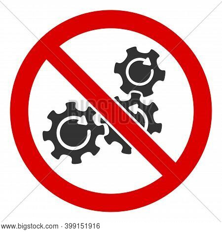 No Gear Rotation Icon. Illustration Style Is A Flat Iconic Symbol Inside Red Crossed Circle On A Whi