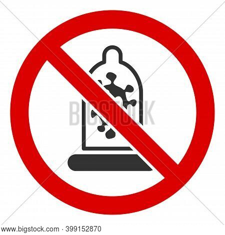 No Infection Condom Icon. Illustration Style Is A Flat Iconic Symbol Inside Red Crossed Circle On A