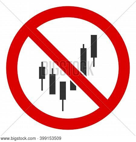 No Candlesticks Chart Icon. Illustration Style Is A Flat Iconic Symbol Inside Red Crossed Circle On