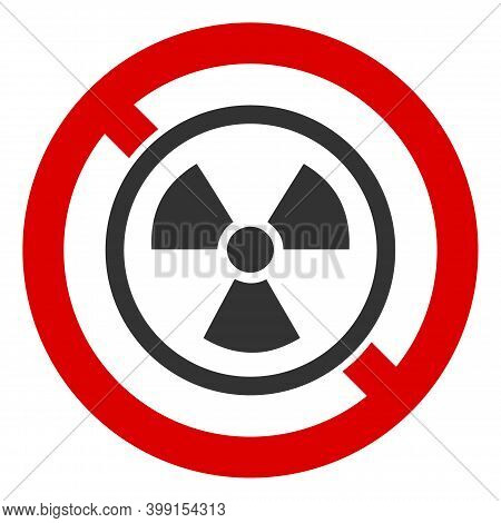 No Atomic Icon. Illustration Style Is A Flat Iconic Symbol Inside Red Crossed Circle On A White Back