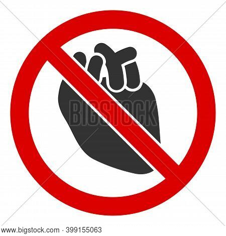 No Human Heart Icon. Illustration Style Is A Flat Iconic Symbol Inside Red Crossed Circle On A White