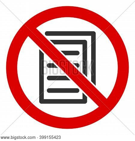 No Page Copy Icon. Illustration Style Is A Flat Iconic Symbol Inside Red Crossed Circle On A White B