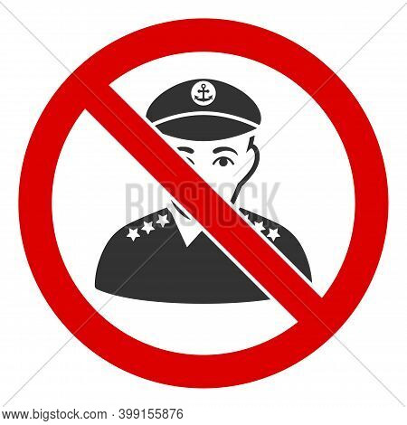 No Captain Icon. Illustration Style Is A Flat Iconic Symbol Inside Red Crossed Circle On A White Bac