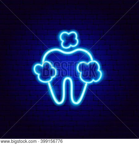 Clean Tooth Neon Sign. Vector Illustration Of Stomatology Promotion.