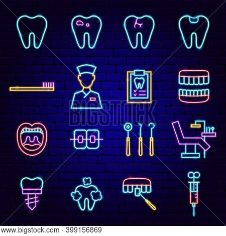 Dental Clinic Neon Icons. Vector Illustration Of Stomatology Promotion.