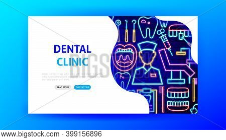 Dental Clinic Neon Landing Page. Vector Illustration Of Stomatology Promotion.