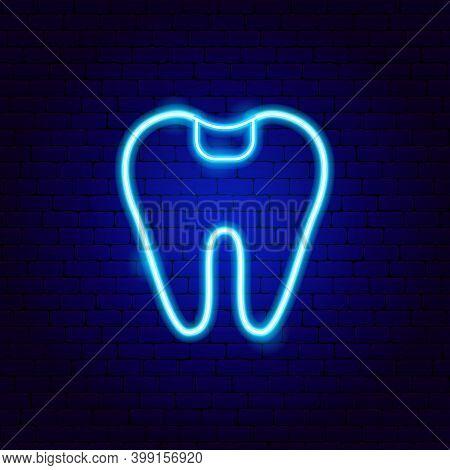 Dental Filling Neon Sign. Vector Illustration Of Stomatology Promotion.