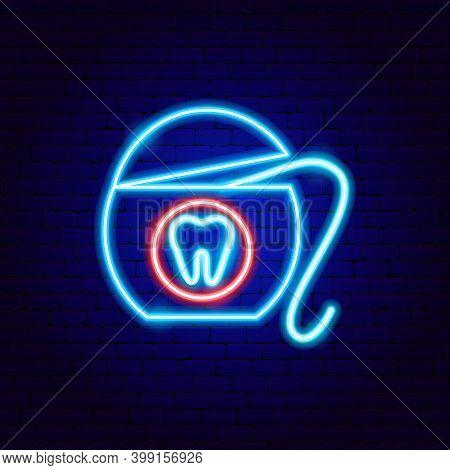 Dental Floss Neon Sign. Vector Illustration Of Stomatology Promotion.