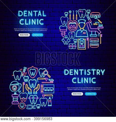 Dental Neon Banners. Vector Illustration Of Stomatology Promotion.