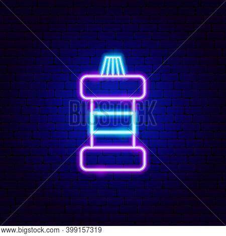Mouthwash Neon Sign. Vector Illustration Of Stomatology Promotion.