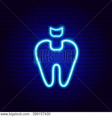 Tooth Filling Neon Sign. Vector Illustration Of Stomatology Promotion.