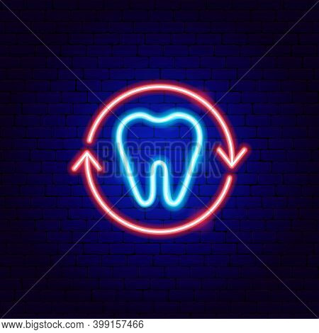 Tooth Protect Neon Sign. Vector Illustration Of Stomatology Promotion.