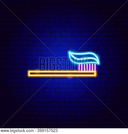 Toothbrush Toothpaste Neon Sign. Vector Illustration Of Stomatology Promotion.