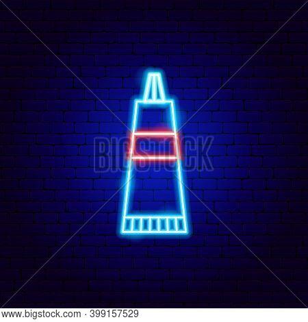 Toothpaste Neon Sign. Vector Illustration Of Stomatology Promotion.