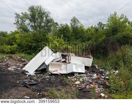 White Goods Wild Dump, Trash Arson, Negative Ecological Impact, Ecosystem Damage, Neglect Of Nature,