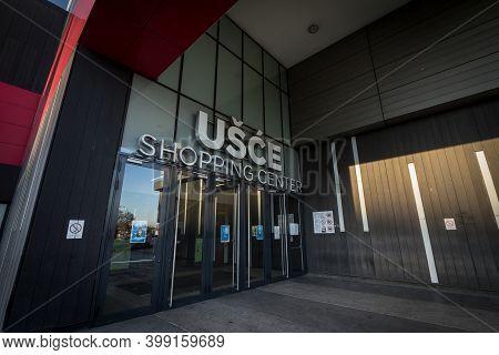 Belgrade, Serbia - December 6, 2020: Usce Shopping Center In New Belgrade (novi Beograd). With Close