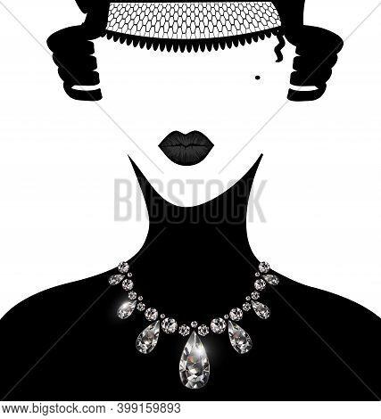 White Background, Dark Lady And Jewel Diamond Necklace