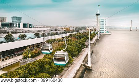 Aerial Photo Of Cable Car And Vasco Da Gama Tower. Sightseeing In Lisbon, Portugal.