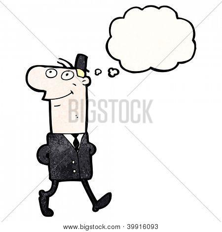 cartoon daydreaming man walking to work