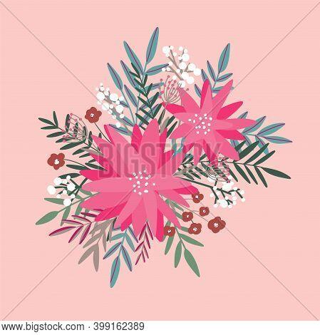 Winter Flowers. Hand Drawn Poinsettia Flowers And Berries, Mistletoe And Eucalyptus. Christmas Flora
