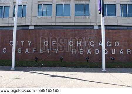 Chicago, Il April 20, 2020, Chicago Public Safety Building Exterior, Headquarters Of The Chicago Pol