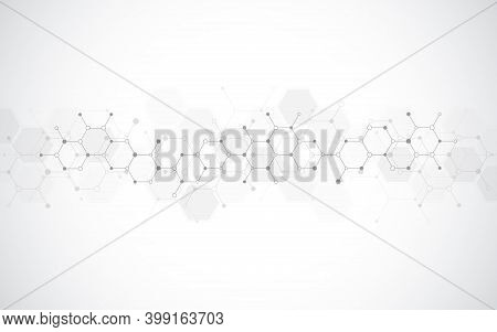 Abstract Background Of Molecules. Molecular Structures Or Chemical Engineering, Genetic Research, In