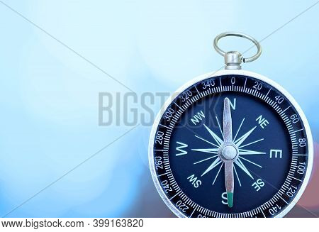 Round Compass On Abstract Background As Symbol Of Tourism With Compass, Travel With Compass And Outd