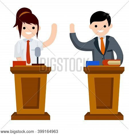Presidential Debate. Political Election And Voting. Controversy Girl And Guy In Suits