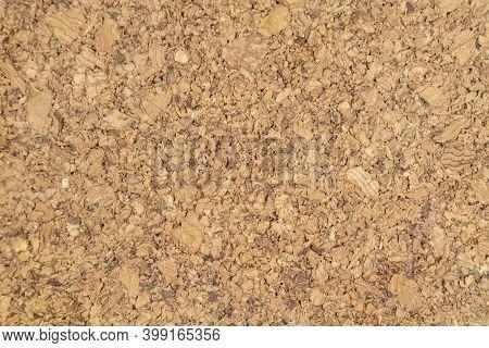 Cork Wood Texture. Brown Cork Texture. Close Up. Empty Blank Cork Board. Macro Shot Of Corkboard Tex
