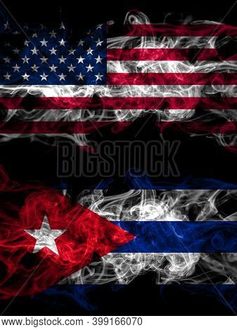United States Of America, America, Us, Usa, American Vs Cuba, Cuban Smoky Mystic Flags Placed Side B