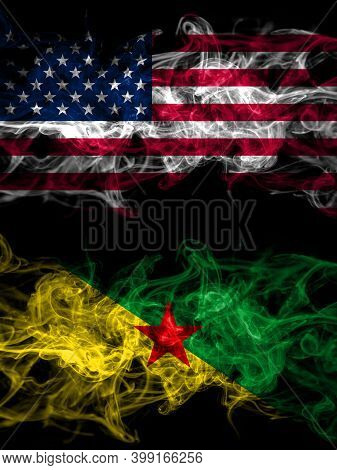 United States Of America, America, Us, Usa, American Vs France, French Guiana Smoky Mystic Flags Pla