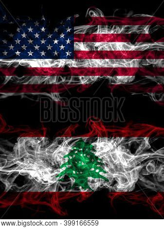 United States Of America, America, Us, Usa, American Vs Lebanon, Lebanese Smoky Mystic Flags Placed