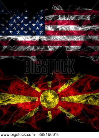 United States Of America, America, Us, Usa, American Vs Macedonia, Macedonian Smoky Mystic Flags Pla