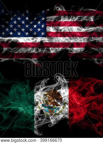 United States Of America, America, Us, Usa, American Vs Mexico, Mexican Smoky Mystic Flags Placed Si