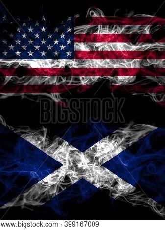 United States Of America, America, Us, Usa, American Vs Scotland, Scottish, Scots Smoky Mystic Flags