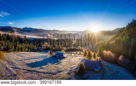 Small Village In A Mountain Valley Of The Carpathian Mountains On An Autumn Day In Ukraine In The Vi