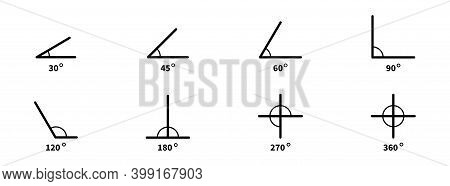 Degree Angle Icon Set. Vector Angles Collection.