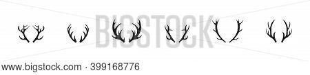 Deer Horn Silhouette Collection. Vector Illustration. Deers Horns Set.