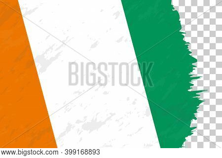 Horizontal Abstract Grunge Brushed Flag Of Ivory Coast On Transparent Grid. Vector Template.