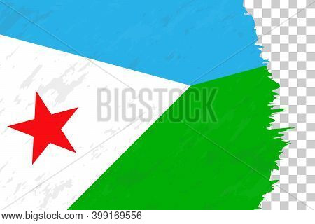 Horizontal Abstract Grunge Brushed Flag Of Djibouti On Transparent Grid. Vector Template.