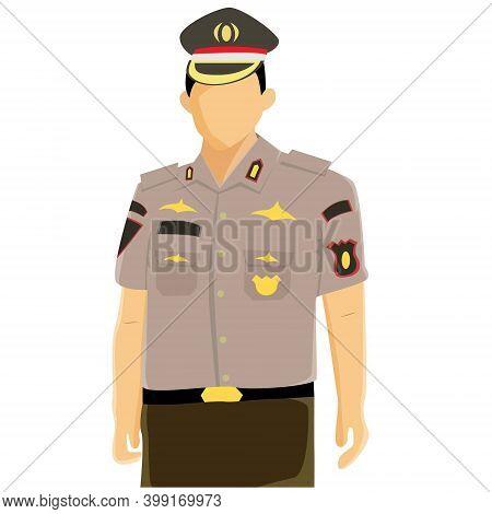 Illustration Vector Design Of Indonesian Policeman. Cop
