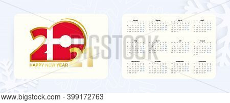 Horizontal Pocket Calendar 2021 In Danish Language. New Year 2021 Icon With Flag Of Denmark. Vector