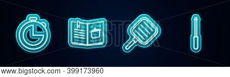 Set Line Kitchen Timer, Cookbook, Frying Pan And Knife Sharpener. Glowing Neon Icon. Vector
