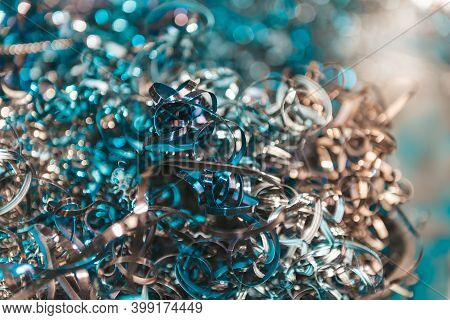 Blurred And Abstract Images Of Many Scrap From Industrial Metal, Which Can Be Recycled By Melting Ne