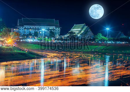Beautiful Scene Light Color The Loy Krathong Festival 2020 And Candle Light From The Krathong In Riv