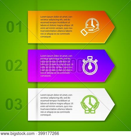 Set Line Clock, Stopwatch, And Pm. Business Infographic Template. Vector