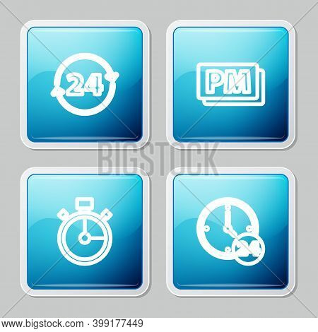 Set Line Clock 24 Hours, Pm, Stopwatch And Icon. Vector