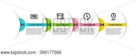 Set Line Clock Pm, Calendar Date Delete, And Location With Clock. Business Infographic Template. Vec