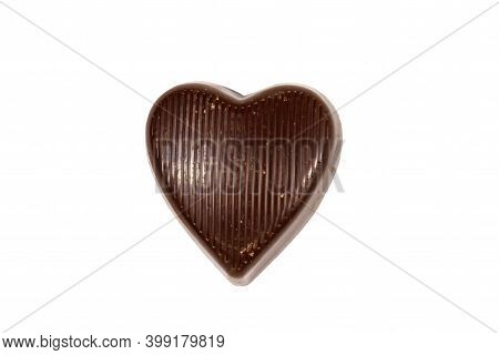 Heart Shaped Chocolate Candy Isolated On White Background