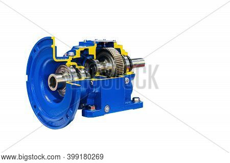 Cross Section Show Detail Cogs Bearing And Other Inside Of Worm Helical Bevel Gear Or Reduce Gearbox